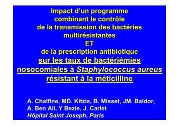 sur les taux de bactériémies nosocomiales à ... - Infectiologie