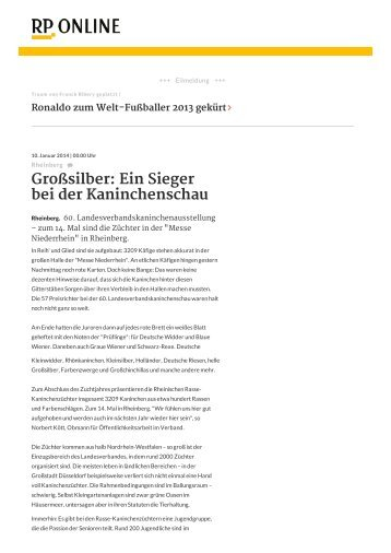 Großsilber: Ein Sieger bei der Kaninchenschau - Messe Niederrhein