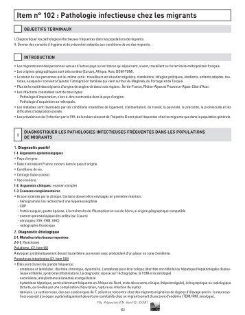Item n° 102 : Pathologie infectieuse chez les migrants - Infectiologie