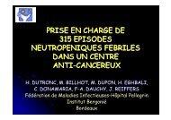 prise en charge de 315 episodes neutropeniques ... - Infectiologie