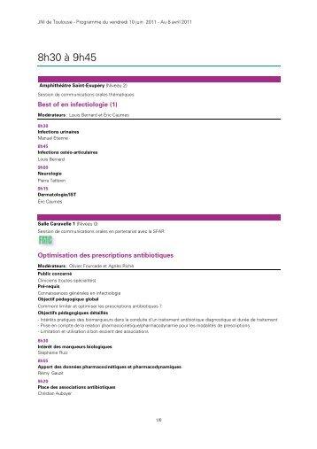 8h30 à 9h45 - Infectiologie