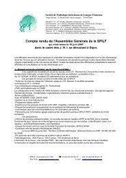 Compte rendu de l'Assemblée Générale de la SPILF - Infectiologie