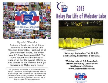 the Relay For Life of Webster Lake