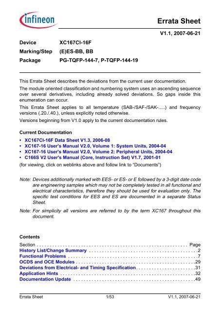 Errata Sheet - Infineon