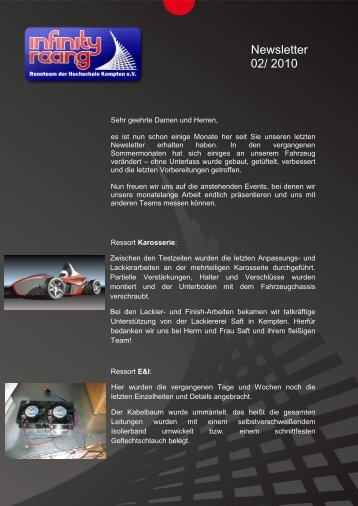 Newsletter 02/ 2010 - Infinity Racing