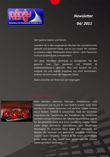 Newsletter 04/ 2011 - Infinity Racing