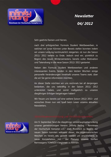 Newsletter 04/ 2012 - Infinity Racing