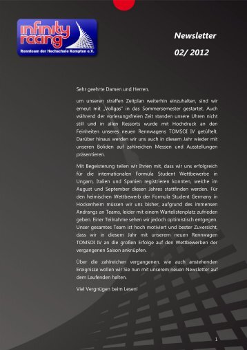 Newsletter 02/ 2012 - Infinity Racing