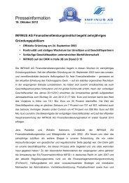 19.10.2012 FDI 10 Jahre Jubiläum - INFINUS AG - Ihr Kompetenz ...