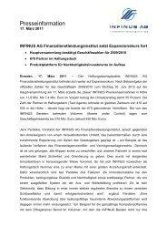 17.03.2011 Pressemitteilung INFINUS AG Hauptversammlung