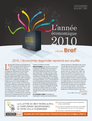 L'année économique 2010 de Rhône-Alpes - Info Economique