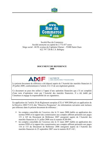 Société Rue du Commerce Société anonyme au ... - Info-financiere.fr