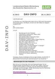 Nr. 6, 2013 - Landesverband Baden-Württemberg des DAV, Bergsport