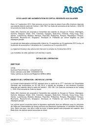 atos lance une augmentation de capital reservee ... - Info-financiere.fr