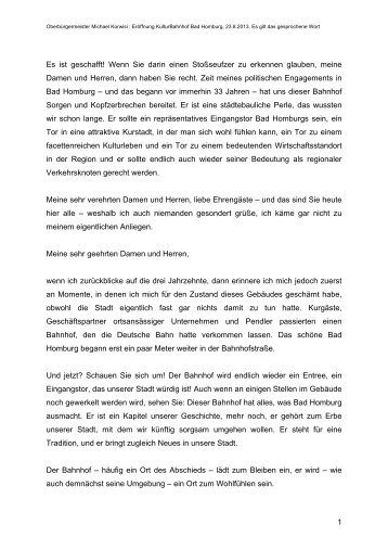 Rede von Oberbürgermeister Korwisi (PDF-Datei ... - Bad Homburg