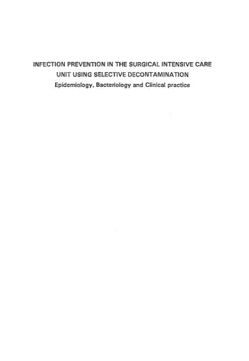 INFECTION PREVENTION IN THE SURGICAL INTENSIVE ... - RePub