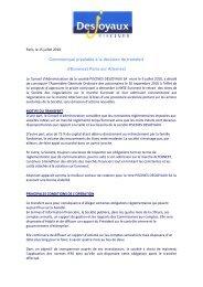 Piscines Desjoyaux - Transfert - Info-financiere.fr