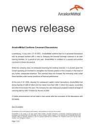 ArcelorMittal Confirms Covenant Discussions - Info-financiere.fr