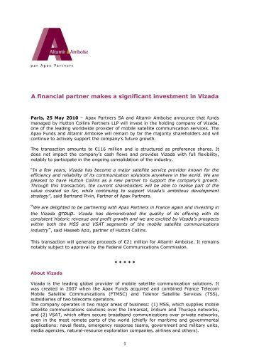 A financial partner makes a significant investment ... - Info-financiere.fr