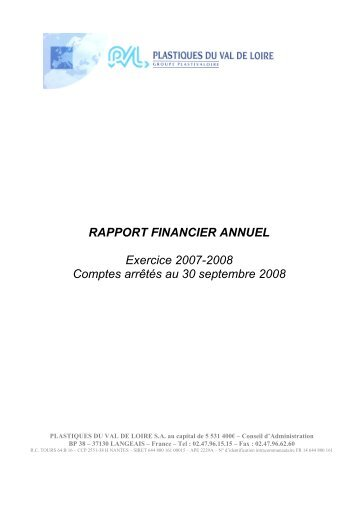 RAPPORT FINANCIER ANNUEL Exercice 2007 ... - Info-financiere.fr
