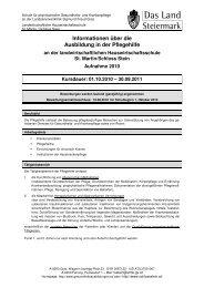 Informationen über die Ausbildung in der Pflegehilfe - Info-Graz