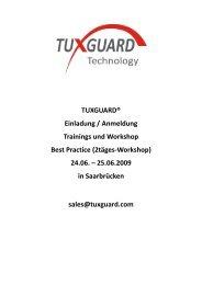 TUXGUARD® Einladung / Anmeldung Trainings und Workshop Best ...