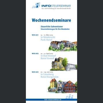 Wochenendseminare 2013 - Info-Steuerseminar