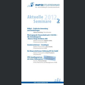 Aktuelle Seminare 2 - Info-Steuerseminar