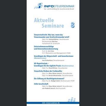 Aktuelle Seminare 8 - Info-Steuerseminar