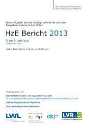 Vorabinformation HzE-Bericht 2013 - Landschaftsverband Rheinland