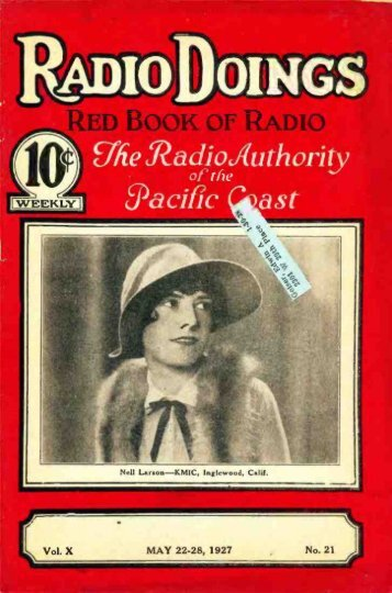 Radio Doings May 22, 1927 - AmericanRadioHistory.Com