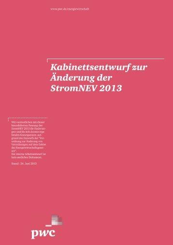 Kabinettsentwurf zur Änderung der StromNEV 2013 - PwC Blogs