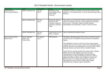 2013 Mandela month government events Page 1 - South Africa ...
