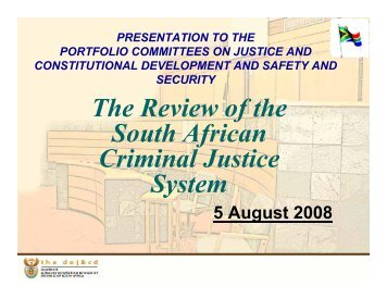 Presentation to the Portfolio Committees on Justice and ...