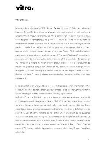 1 Vitra et Panton Lorsqu'au début des années 1960, Verner Panton ...