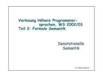 Formale Semantik Denotationelle Semantik