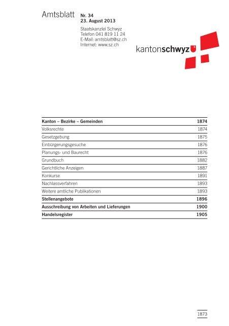 Amtsblatt Nr. 34 vom 23. August 2013 (210 KB) - Kanton Schwyz