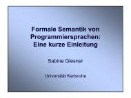 Formale Semantik von Programmiersprachen: Eine kurze Einleitung