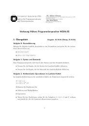 Vorlesung Höhere Programmiersprachen WS04/05 1. ¨Ubungsblatt