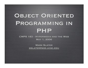 Object-orientation in PHP