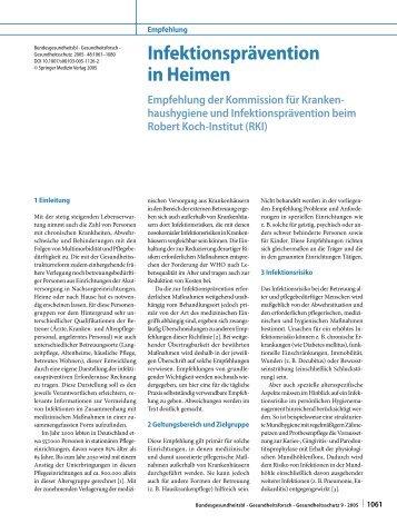 Infektionsprävention in Heimen - Empfehlung der ... - edoc - RKI