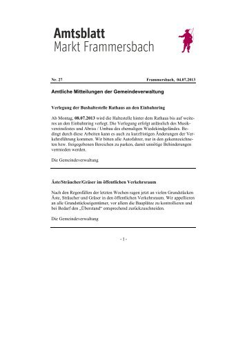 Amtliche Mitteilungen der Gemeindeverwaltung - Frammersbach