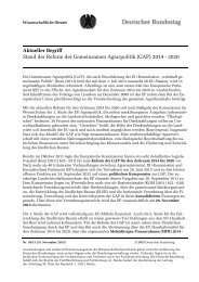 Stand der Reform der Gemeinsamen Agrarpolitik (GAP) 2014 - 2020