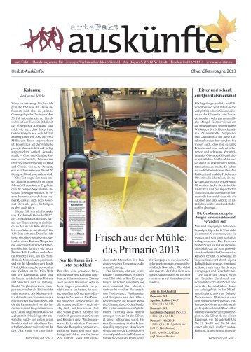 Frisch aus der Mühle: das Primario 2013 - arteFakt