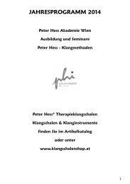Jahresprogramm 2014 PDF Download - Peter Hess Akademie Wien