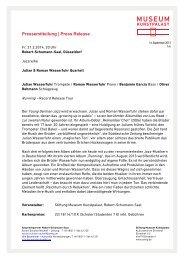 Jazzreihe: Julian und Roman Wasserfuhr Quartett - Museum ...