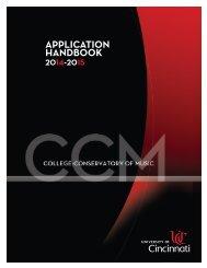 CCM Application Handbook - Cincinnati College - Conservatory of ...