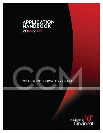 CCM Application Handbook - Cincinnati College - Conservatory of ...