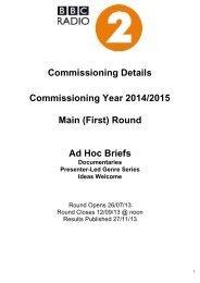 Commissioning Brief - BBC