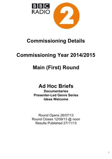 Commissioning Brief - BBC